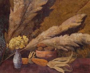 Nature morte aux roseaux, Primevères et maïs