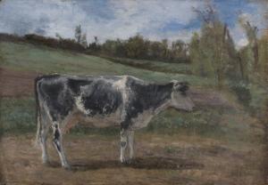 Vache dans un paysage (mouchetée de noir et blanc)