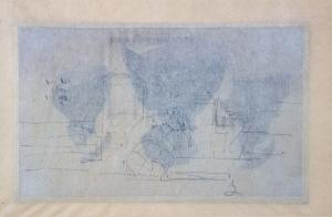 Trois Etudes de dame lisant en crinoline brune (verso ), Croquis. Scène de plage   (verso )