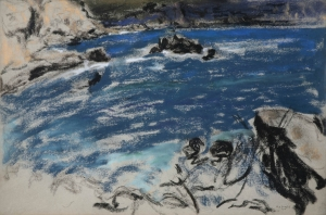 Rochers et mer bleue