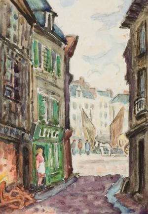 Le Havre. Vue de la rue Saint-Jacques donnant sur l'anse Notre-Dame.,