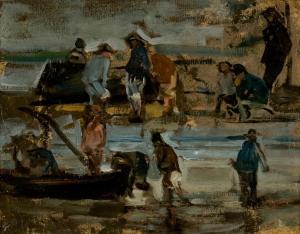 Pêcheurs près d'une barque