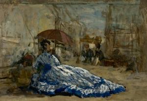 Femme en robe bleue sous une ombrelle