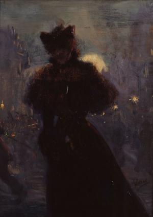 Femme en noir au manchon