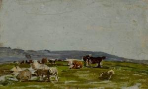 Petit Paysage avec vaches et mouton