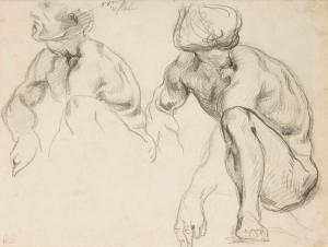 Deux hommes nus accroupis