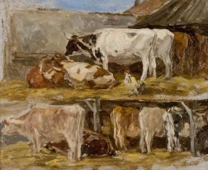 Vaches sous des hangars