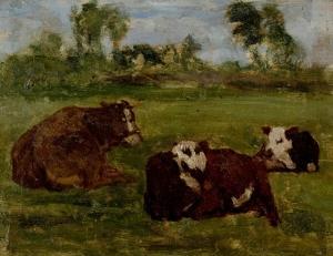 Paysage : étude de trois veaux couchés