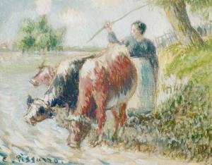 Paysanne gardant des vaches, À la rivière
