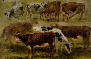 Deux groupes de vaches, dont un cheval roux