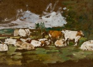 Vaches se profilant à l'entrée d'un bois