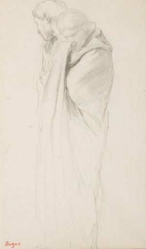 """Deux figures dont une drapée pleurant (Etude pour """"La Fille de la Jephté""""?)"""