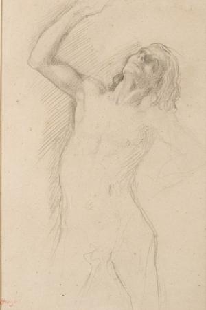 """Jeune homme nu, tête renversée et bras droit levé (Etude pour """"Petites Filles spartiates provoquant des garçons"""")"""