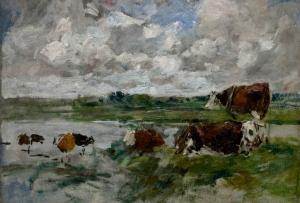 Vaches au bord d'une rivière